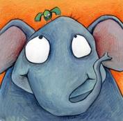 Elefant i ocell verd